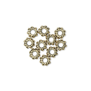 bead, antique gold-plated pewter (tin-based alloy), 5.5x3mm beaded rondelle. sold per pkg of 10.