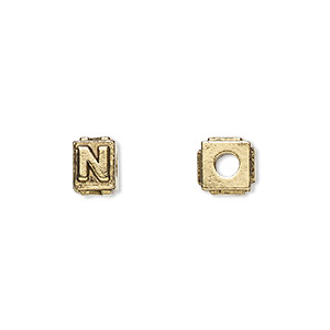 bead, antique gold-plated pewter (tin-based alloy), 8x6mm rectangle with alphabet letter n and 3mm hole. sold per pkg of 4.