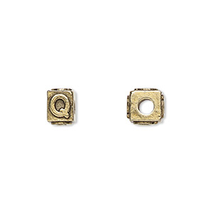 bead, antique gold-plated pewter (tin-based alloy), 8x6mm rectangle with alphabet letter q and 3mm hole. sold per pkg of 4.
