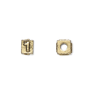 bead, antique gold-plated pewter (tin-based alloy), 8x6mm rectangle with number 1, 3mm hole. sold per pkg of 4.