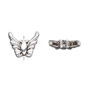 bead, antique silver-finished pewter (zinc-based alloy), 15x13mm moth wings. sold per pkg of 4.