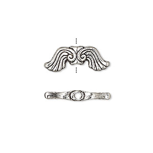 bead, antique silver-finished pewter (zinc-based alloy), 19x7mm double-sided wing. sold per pkg of 10.