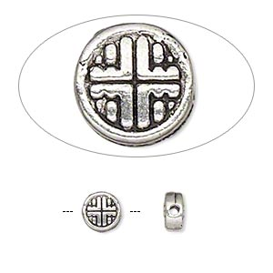 bead, antique silver-finished pewter (zinc-based alloy), 6mm double-sided flat round. sold per pkg of 15.