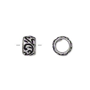 bead, antique silver-plated brass, 10x6mm barrel with paisley design, 6mm hole. sold per pkg of 6.