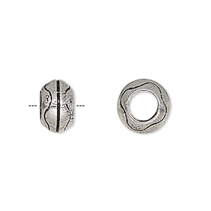 bead, antique silver-plated brass, 11x7mm rondelle with line design and 5.5mm hole. sold per pkg of 4.