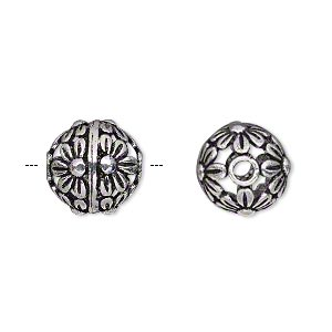 bead, antique silver-plated brass, 12mm round with flowers, 2mm hole. sold per pkg of 4.