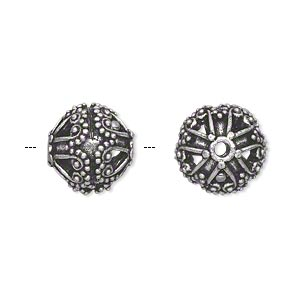 bead, antique silver-plated brass, 13mm filigree round with dots and swirls. sold individually.