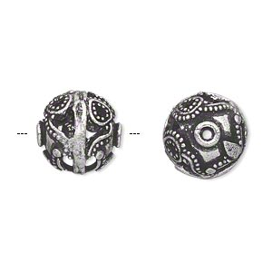 bead, antique silver-plated brass, 14mm cutout filigree beaded round. sold individually.
