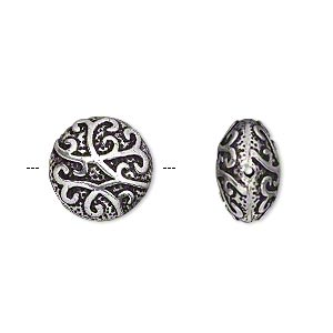bead, antique silver-plated brass, 14mm fancy puffed flat round. sold per pkg of 2.