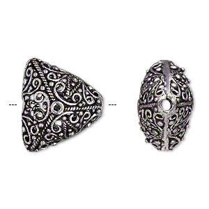 bead, antique silver-plated brass, 20x18x18mm filigree puffed triangle, 2.5mm hole. sold per pkg of 2.