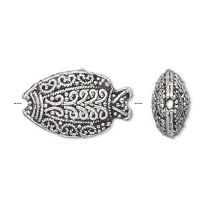 bead, antique silver-plated brass, 23x14mm puffed filigree fish with dots, swirls and braids. sold individually.