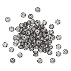 bead, antique silver-plated brass, 4.5x2.5mm corrugated rondelle. sold per pkg of 100.