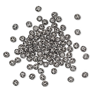 bead, antique silver-plated brass, 4mm cutout round. sold per pkg of 100.