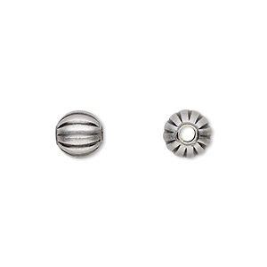 bead, antique silver-plated brass, 8mm corrugated round. sold per pkg of 100.