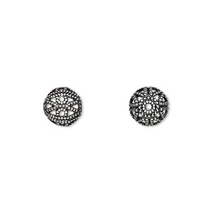 bead, antique silver-plated brass, 8mm filigree round. sold per pkg of 100.