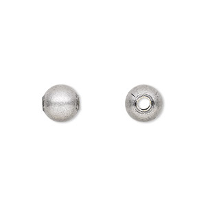 bead, antique silver-plated brass, 8mm round. sold per pkg of 100.