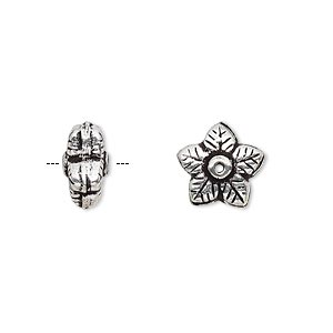 bead, antique silver-plated copper, 11x6mm flower rondelle. sold per pkg of 12.