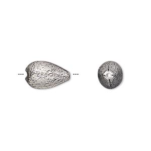 bead, antique silver-plated copper, 13x8mm brushed teardrop. sold per pkg of 10.