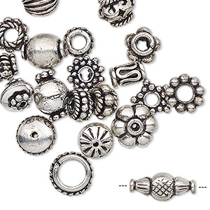bead, antique silver-plated copper, 4x1mm-11x5mm assorted shape. sold per pkg of 20.