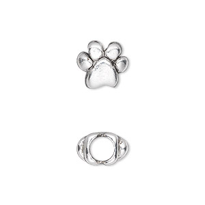 bead, antique silver-plated pewter (tin-based alloy), 11x10mm double-sided paw print, 5mm hole. sold individually.