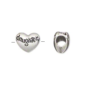 bead, antique silver-plated pewter (tin-based alloy), 12x10mm double-sided heart with daughter, 5mm hole. sold individually.