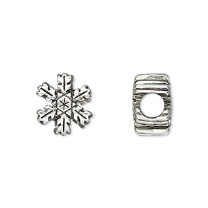 bead, antique silver-plated pewter (tin-based alloy), 13mm double-sided snowflake, 5mm hole. sold individually.