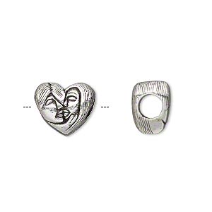 bead, antique silver-plated pewter (tin-based alloy), 13x11mm double-sided heart with kissing couple, 5mm hole. sold individually.