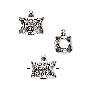 bead, antique silver-plated pewter (tin-based alloy), 13x13mm birthday cake with candle/flowers/heart/happy birthday, 5mm hole. sold individually.