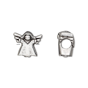 bead, antique silver-plated pewter (tin-based alloy), 14x12mm soaring angel, 5mm hole. sold individually.
