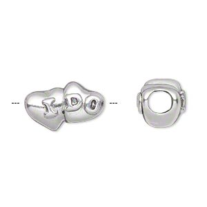 bead, antique silver-plated pewter (tin-based alloy), 16.5x10mm double-sided double heart with i do script, 5mm hole. sold individually.