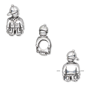 bead, antique silver-plated pewter (tin-based alloy), 16.5x9mm boy with cap, 5mm hole. sold individually.