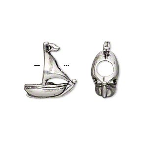 bead, antique silver-plated pewter (tin-based alloy), 17x15mm double-sided sailboat, 5mm hole. sold individually.