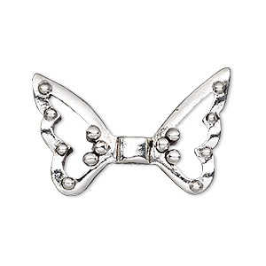 bead, antique silver-plated pewter (tin-based alloy), 33x21mm open wings, 1.5mm hole. sold individually.