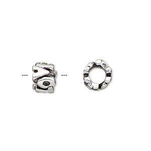 bead, antique silver-plated pewter (tin-based alloy), 8x6mm double-sided rondelle with love, 5mm hole. sold individually.