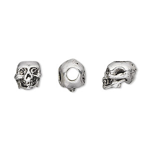 bead, antique silver-plated pewter (tin-based alloy), 9x8mm skull with 3mm hole. sold per pkg of 2.