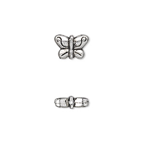 bead, antique silver-plated pewter (zinc-based alloy), 10x7mm double-sided butterfly. sold per pkg of 50.