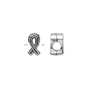 bead, antique silver-plated pewter (zinc-based alloy), 11x6mm double-sided awareness ribbon, 4mm hole. sold per pkg of 500.