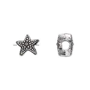 bead, antique silver-plated pewter (zinc-based alloy), 11x8mm double-sided beaded star with 4.5mm hole. sold per pkg of 10.