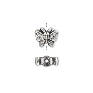 bead, antique silver-plated pewter (zinc-based alloy), 11x9mm double-sided butterfly. sold per pkg of 20.