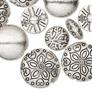 bead, antique silver-plated pewter (zinc-based alloy), 12-19mm double-sided puffed round with assorted designs. sold per pkg of 10.