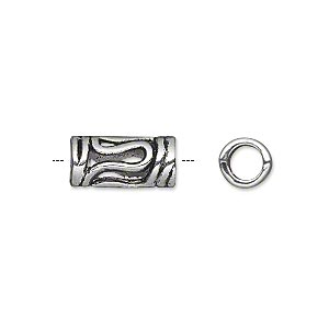 bead, antique silver-plated pewter (zinc-based alloy), 14x7mm tube, 4.5mm hole. sold per pkg of 20.