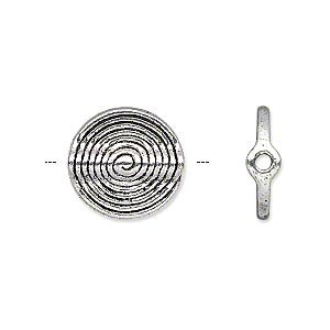bead, antique silver-plated pewter (zinc-based alloy), 15x4mm double-sided flat round tube with spiral. sold per pkg of 10.
