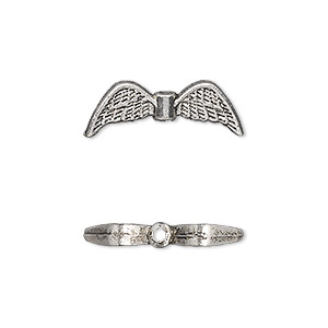 bead, antique silver-plated pewter (zinc-based alloy), 21x7mm double-sided angel wings. sold per pkg of 20.