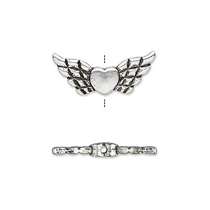 bead, antique silver-plated pewter (zinc-based alloy), 22x9mm double-sided angel wings with heart. sold per pkg of 20.