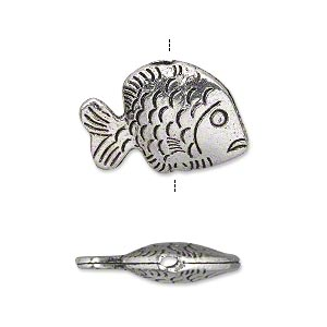 bead, antique silver-plated pewter (zinc-based alloy), 23x15mm double-sided hollow fish. sold per pkg of 10.