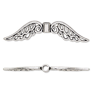 bead, antique silver-plated pewter (zinc-based alloy), 53x13mm double-sided angel wing with cutout, 3mm hole. sold per pkg of 4.