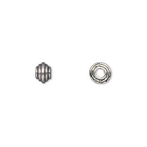 bead, antique silver-plated pewter (zinc-based alloy), 6x4mm rondelle. sold per pkg of 50.