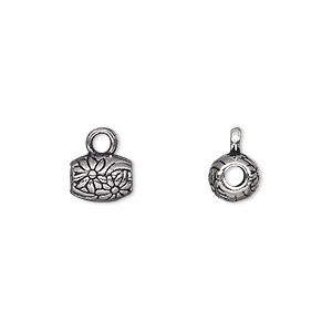 bead, antique silver-plated pewter (zinc-based alloy), 8x6mm double-sided oval with flower design and loop, 2.5mm hole. sold per pkg of 20.