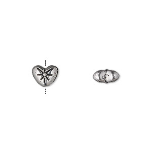bead, antique silver-plated pewter (zinc-based alloy), 8x6mm double-sided heart with flower. sold per pkg of 50.