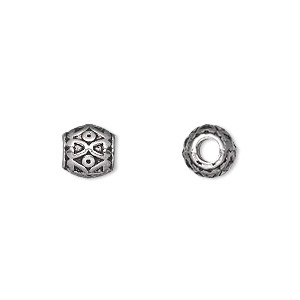 bead, antique silver-plated pewter (zinc-based alloy), 8x8mm barrel with 3mm hole. sold per pkg of 20.